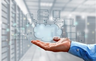Illustration of cloud computing with several icons - pc, tablet, server, laptop, network