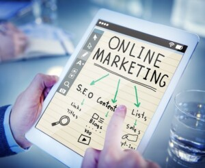 White tablet showing online marketing SEO for small business website