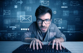 Talented young hacker hacking email address passwords