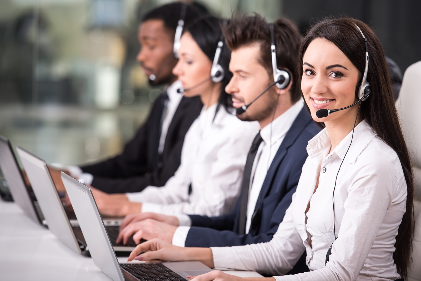 IT technicians in a call center