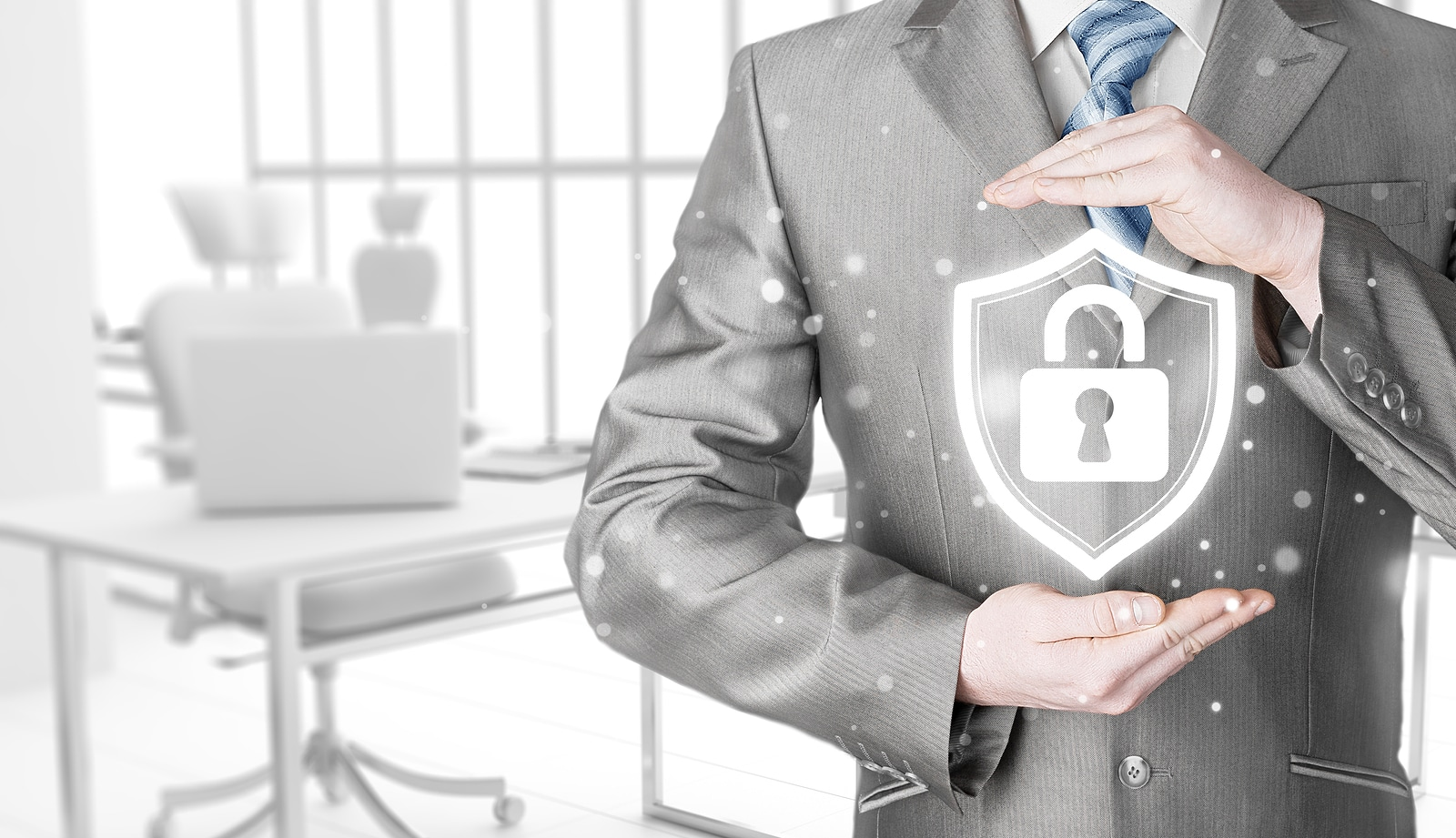 Data protection and insurance. Concept of business security, safety of information from virus, crime and attack