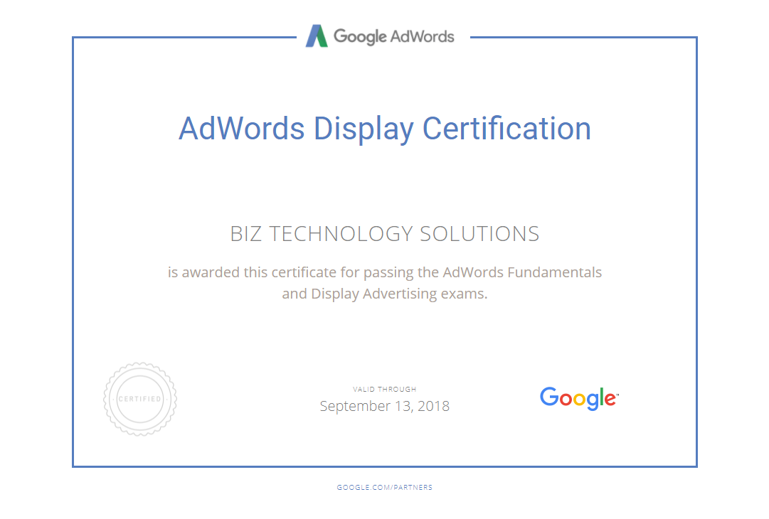 Google AdWords Display Certification Biz Technology Solutions