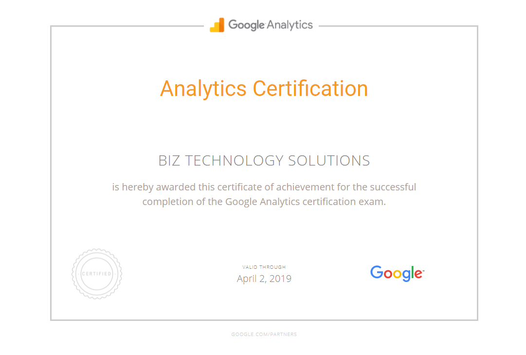 Google Analytics Certification Biz Technology Solutions