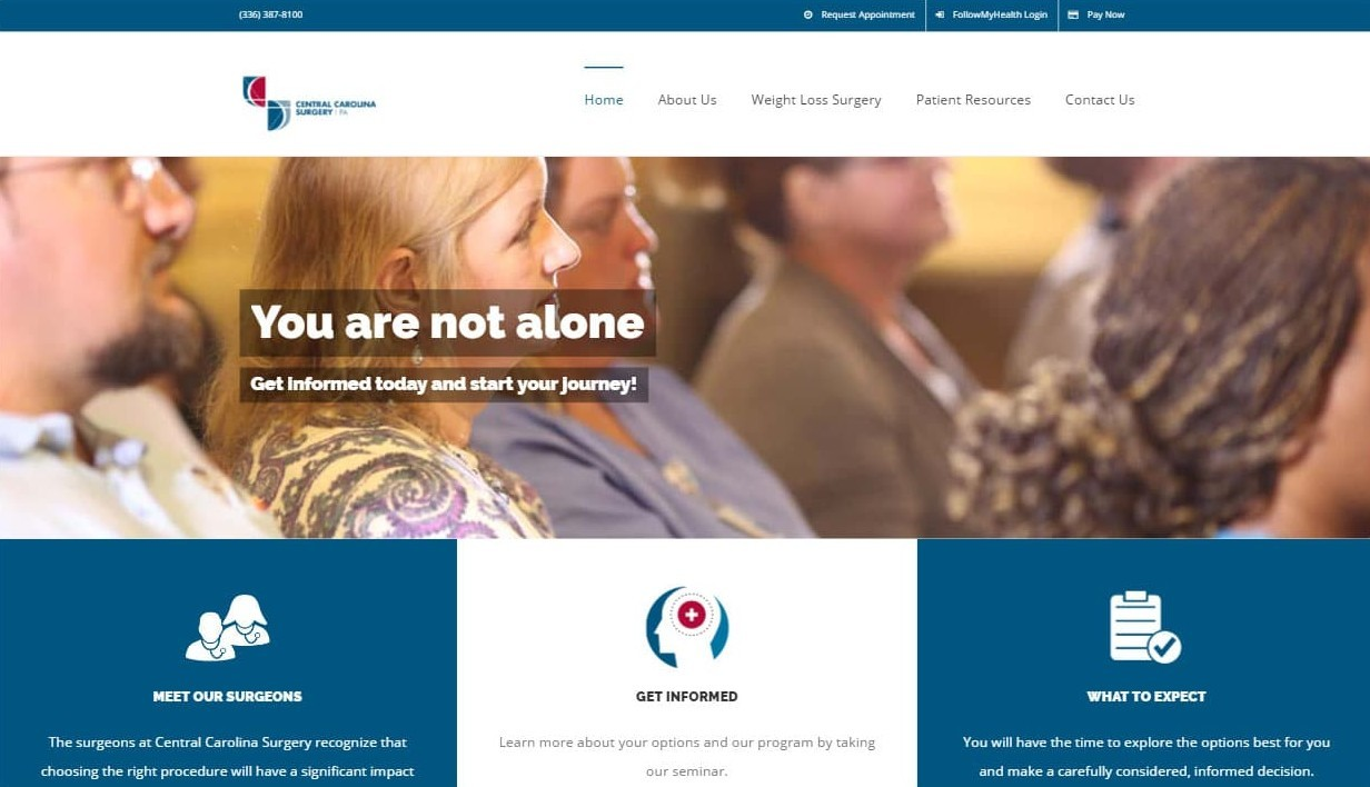 Website that we designed for Central Carolina Surgery Bariatrics