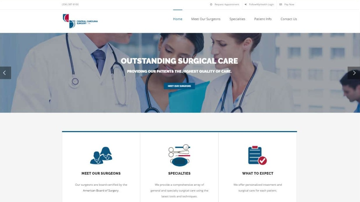 Website that we designed for Central Carolina Surgery