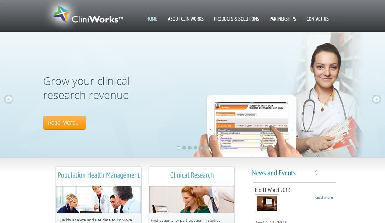 Website that we designed for CliniWorks
