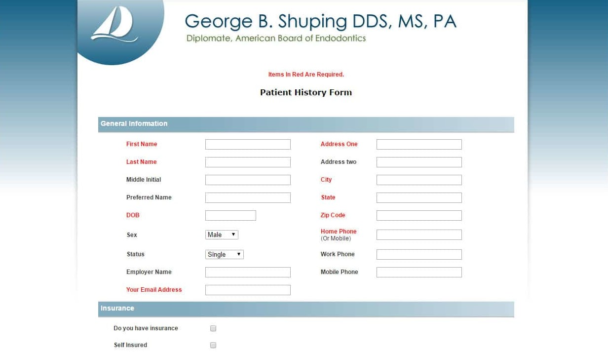 Custom HIPAA compliant form we developed for a client