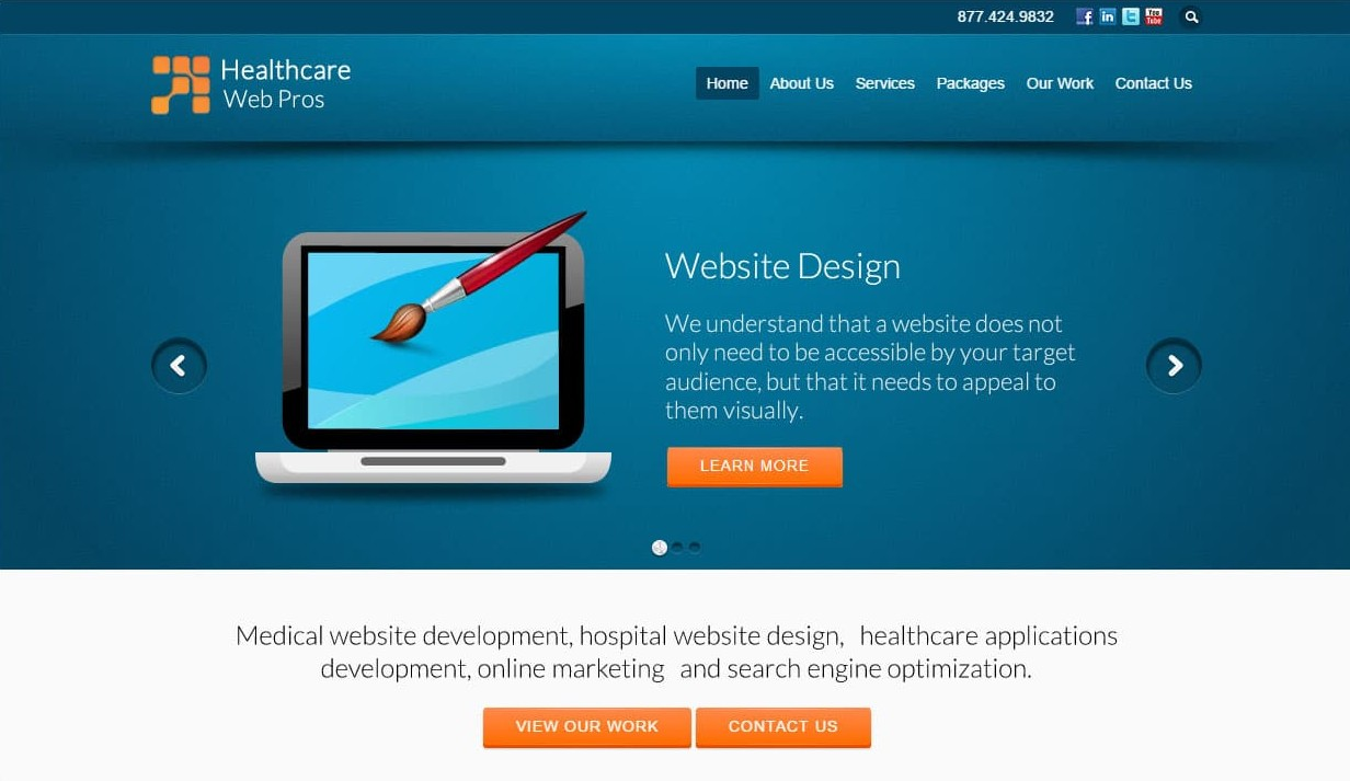 Website that we designed for Healthcare Web Pros