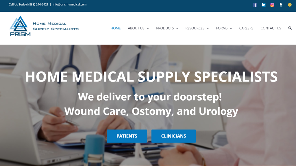 prism medical products website development portfolio
