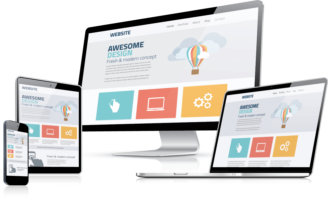 responsive web design on multiple devices transparent