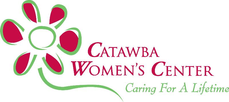 Red and green logo for Catawba Women's Center with slogan reading Caring For A Lifetime