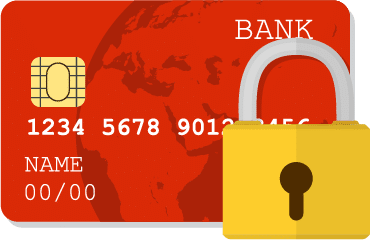 Credit card vector graphic with a padlock