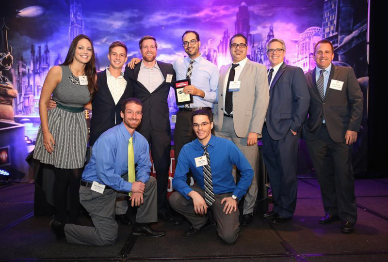 Group shop of Biz Technology Solutions Inc employees after they won the award for 50 Fastest Growing Companies in Charlotte