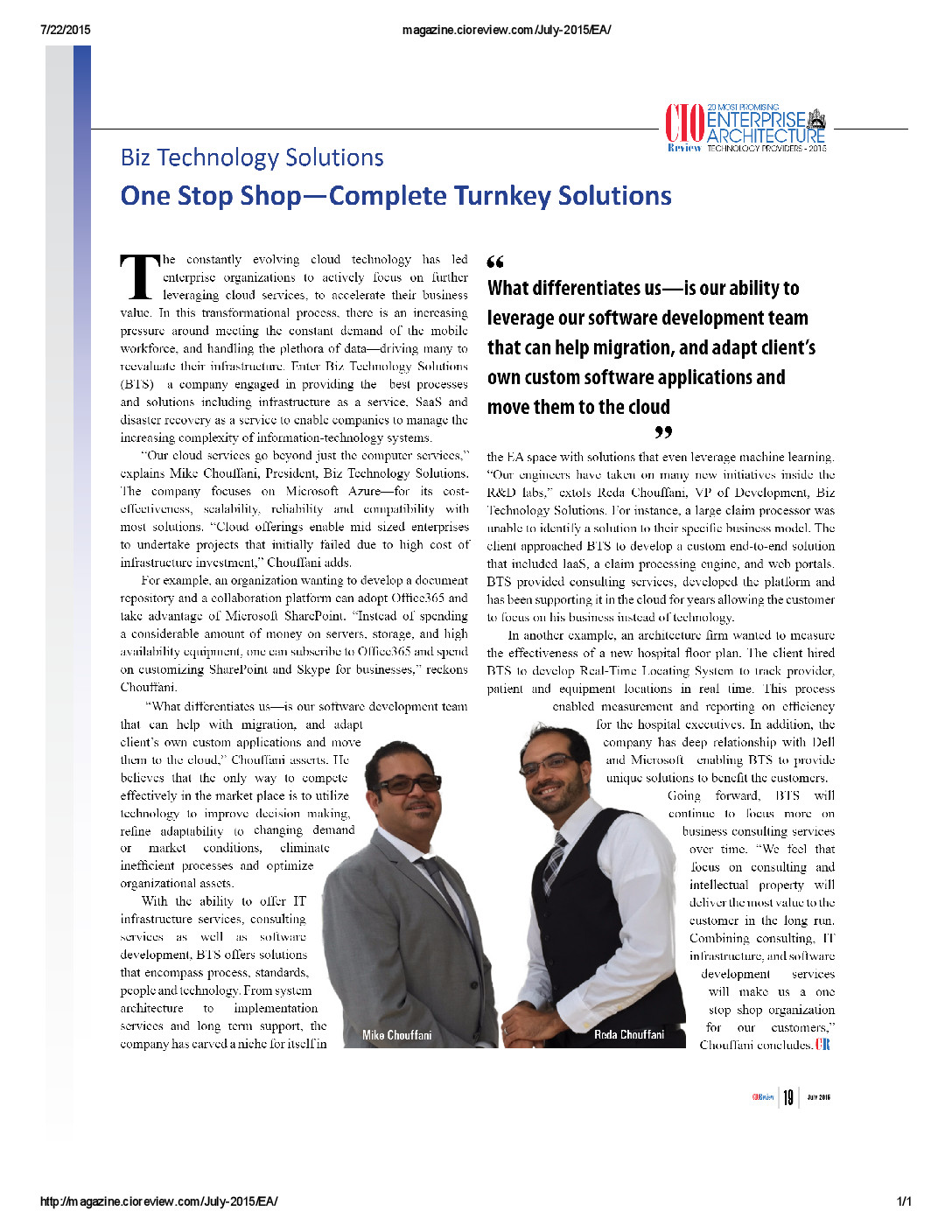 cio review mike and reda chouffani biz technology solutions pdf