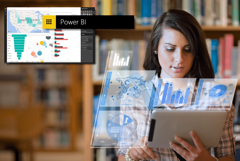 Woman holding up tablet displaying Microsoft Power BI holographic data visualization content