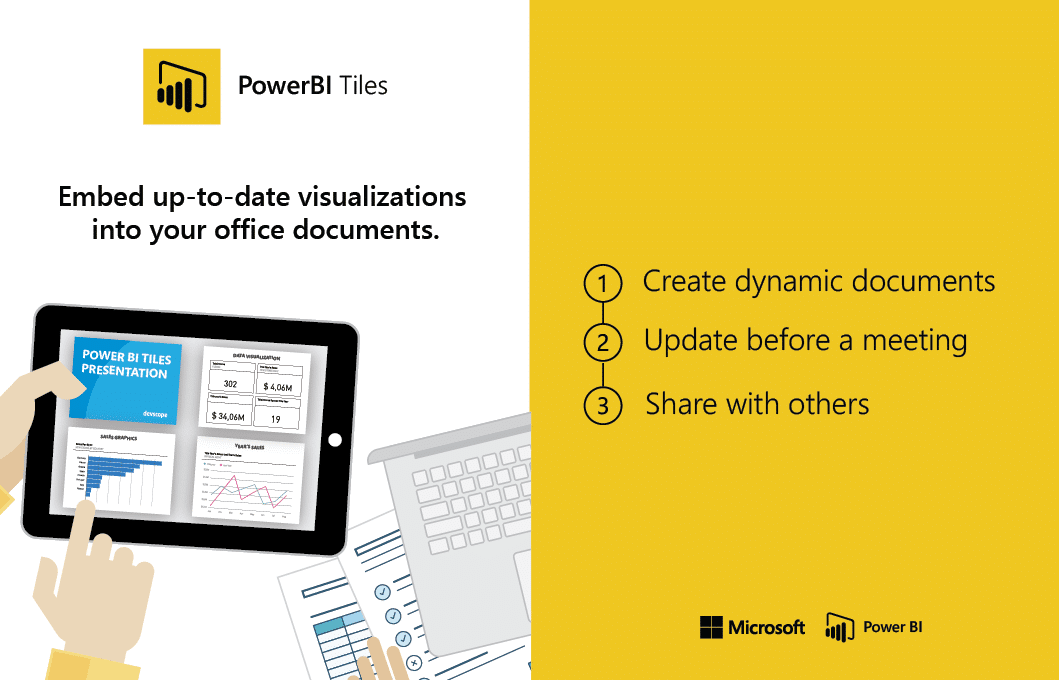 Embed up-to-date visualizations into your office documents with Microsoft Power BI Tiles