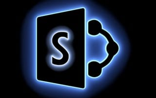 Microsoft SharePoint Implementation in the form of a neon light 3D illustration