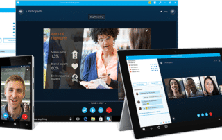 Skype For Business on multiple devices, including a computer, tablet, and phone