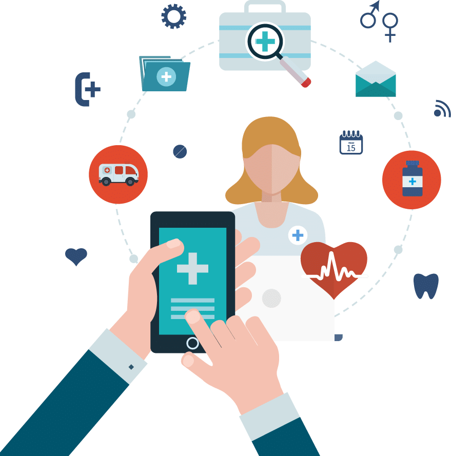 Social media vector graphic displaying healthcare development icons with a man holding up his mobile device