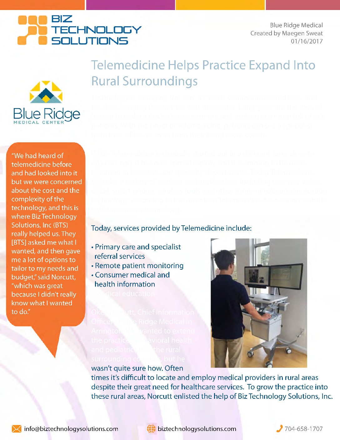 Blue Ridge Medical Telemedicine White Paper