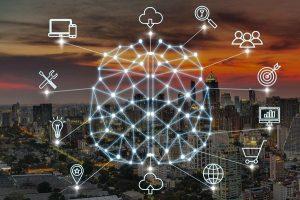 business data culture concept polygonal brain shape